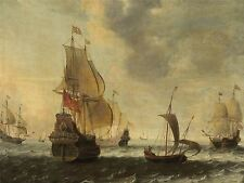 JACOB ADRIAENSZ BELLEVOIS DUTCH SHIPS LIVELY BREEZE ART PAINTING POSTER BB5730A