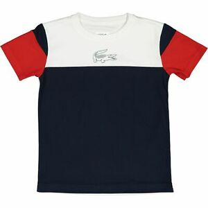 LACOSTE SPORT Boys' Kids' Colour Block T-shirt, Blue/Red/White, size 8 years