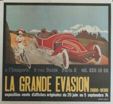 """EXPO LA GRANDE EVASION 1974"" Affiche originale entoilée GEO DORIVAL 53x49cm"
