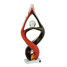 """New 14"""" Large Hand Blown Art Glass Fused Sculpture Abstract Red Black Decorative"""