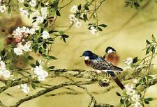 LARGE FLORAL PAINTING ORIENTAL CANVAS ART BIRDS FLOWERS