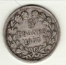 PETIT TIRAGE5 FRANCS LOUIS PHILIPPE TETE LAUREE 1837 MA