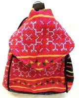 Hill Tribe Backpack Bag Pink Embroidered Unique Handmade Hmong Bags Gift Hippie