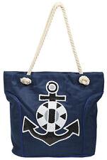 Damenhandtasche Handtasche mit Anker Applikation Motiv Blau Strandtasche Strand