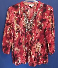 JM Collection Women's 16 Beaded Pleated Splash Red Tunic Top Pull-on Blouse