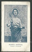 Holy card antique de Santa Lucia santino image pieuse estampa