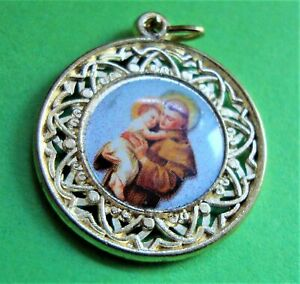 Vintage St Anthony of Padua Pray For Us Pendant or Medal