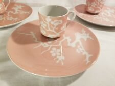 Fitz & Floyd Prunier De Chine Peach Snack Plate and Cup Set of 4 Pink Tree Tea