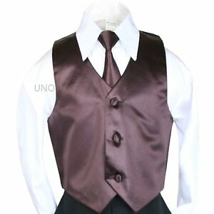 A Lily 2pc Color Satin Vest Necktie Set for Baby Toddler Teen Boy Formal Suit