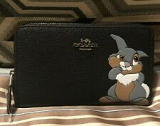 Coach x Disney Thumper Black Zip Around Wallet Genuine BRAND NEW