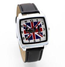 Beatles D Union Jack Leather Strap Wristwatch Black Watch Music Rock Kids Adults