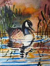 Painting Canadian Goose Bird Lake Nature ACEO Art