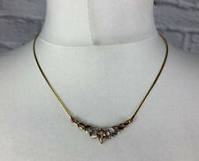 """9ct Gold Diamond Wishbone Necklace Snake Chain 17"""" Made in Italy"""