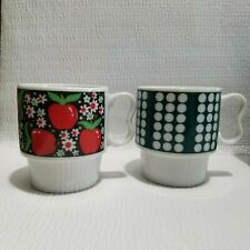 2 Vtg Japan Mugs Stacking 2 Finger Handle Apples Polka Dots Coffee Cups