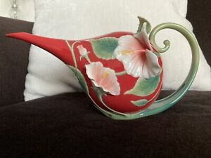 """Franz Collection Hibiscus """"Island Beauty"""" Teapot Red FZ00983 - MINT"""