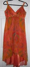 Laundry By Shelli Segal Orange Floral Sleeveless Beaded Silk Lined Dress Size 6