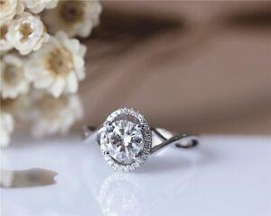 1Ct White Round Diamond Engagement Wedding Ring With 14K White Gold Finish