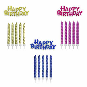PME Metallic Colour Happy Birthday Plaque and 16 Twist Candles with Holders Set