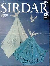 Sirdar 3177 Vintage Knitting & Crochet Pattern Baby Shawls/Blankets DK