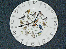 "Garden Birds 11"" large bone china  wall clock - gift  boxed.Robin Wren Thrush"