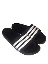Adidas Slides Black With White Stripes Men's Size 8