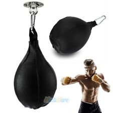 Pro Genuine Leather Boxing Speed Bag Punching Ball w/ Hanging Hook Training Mma