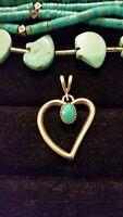 Vintage Shube Dakota West Southwestern Sterling & Turquoise Heart Pendant 925