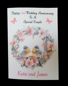 Handmade Personalised Anniversary Card - Couple Husband Wife - Any Year Names