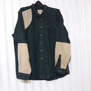 Woolrich Khaki Canvas Hunting Shooting Work Shirt Mens Large Beige Green XL Tall