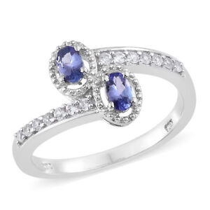 Premium AAA Tanzanite, Cambodian Zircon Platinum over SS Bypass ring 5