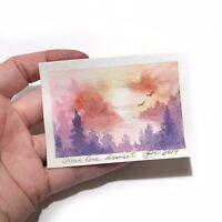 ACEO Original Painting Seascape Art sunset Miniature listed by artist Artettina