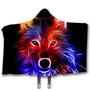 3D Print Wolf Hooded Blanket Plush Soft Warm Cloak Cape Coat Wearable Blanket