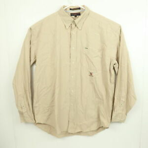 Vintage Tommy Hilfiger Golf Mens Shirt Size XL Brown Button-Up Long Sleeve 90s
