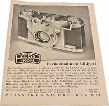 ZEISS Ikon Tenax II Original Brochure / Advert Printed in 1938 - ULTRA Scarce!!!
