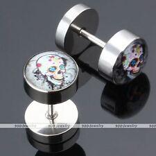 Pair Stainless Steel Sugar Skull Flower Fake 0G Cheater Ear Stud Earlet Earring