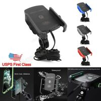 Motorcycle Cell Phone Handlebar Mount Holder Wireless USB Charger for Smartphone