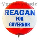 """1966 President Ronald Reagan For Governor CA 1"""" Red Campaign Pin Pinback Button"""