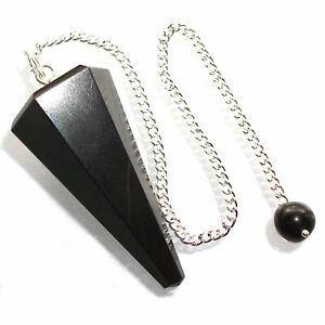 Black Agate Dowsing Pendulum Crystal Point