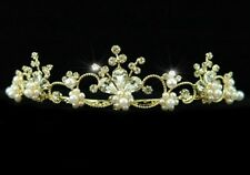 OUTSTANDING GOLDTONE TIARA WITH CLEAR RHINESTONES & PEARLS - ON DOUBLE COMBS