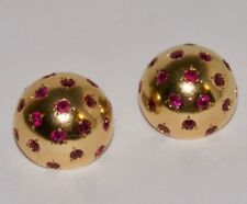 VINTAGE VAN CLEEF & ARPELS RETRO 18K YELLOW GOLD RUBY PINS / BROOCHES / BUTTONS