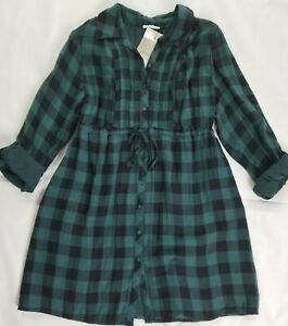 A Pea In The Pod Green Check Maternity Tunic Dress Large 100% Cotton Tab Sleeve