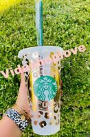Venti starbucks rose gold Leopard print reusable cold cup Custom Saying