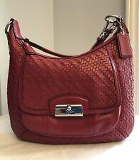 Coach Red Kristin Woven Leather Hobo Shoulder Bag Handbag