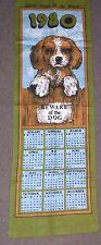 "Vintage 1980 Irish Linen Souvenir  Towel /Calender "" Guide Dogs For The Blind"""