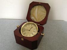 Linden Round Brushed-finish Goldtone Clock - German Mvmt. (NIB)  (#BxAB-L)