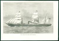 1874 Antique Print  - SHIPS St Osyth Orient Line Australia Smoke Funnel   (40)