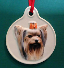 Yorkie Dog Christmas Sculpted Ceramic Ornament Holiday Xpres
