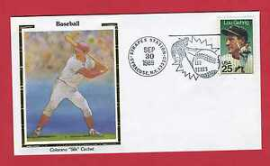 1989 COLORANO SILK CACHET LOU GEHRIG 25 Cent Stamp   150 Years of Baseball