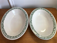 "2 Buffalo CHINA Kenmore Vegetable Serving Bowls 10"" Oval Restaurant ware Green"