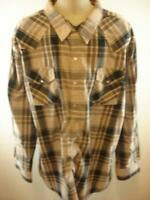 Mens sz 4XL High Noon Western Pearl Snap Shirt Long Sleeve Tan Black Brown Plaid